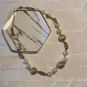 Cezanne Gold and Pearl Necklace